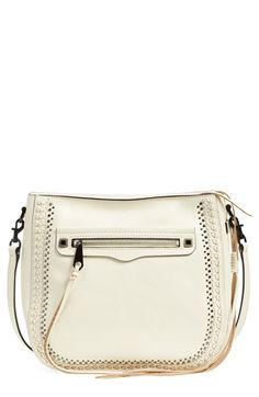 Free shipping and returns on Rebecca Minkoff 'Regan Feed' Studded Bag at Nordstrom.com. Small gunmetal studs and whipstitched detailing subtly accent a structured crossbody bag, adding a touch of edge to a minimalist-but-chic leather carryall.