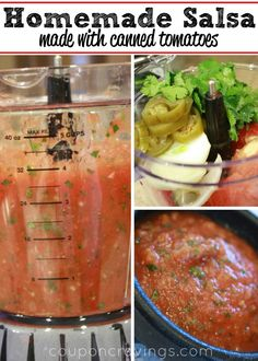 This homemade salsa recipe - easy, simple, and delicious . is just like what you'd get at a restaurant. This is the easiest way to make fresher salsa and not have to eat jarred again - I'll never go Salsa Verde, Salsa With Canned Tomatoes, Grow Tomatoes, Mexican Dishes, Mexican Food Recipes, Spanish Dishes, Tomato Salsa Recipe, Easy Canned Salsa Recipe, Sauces