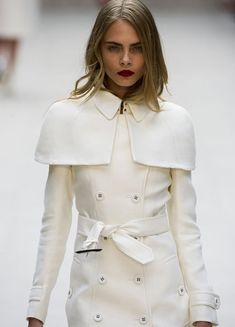 Burberry coat.  Love the shoulder overlay.  #burberry #fashion
