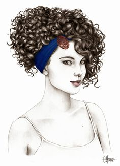 Hair Bar Babyliss x Adéli Paris – Catalogue Coiffure Curly Hair Drawing, Curly Hair Styles, Natural Hair Styles, Hair Sketch, Black Women Art, How To Draw Hair, Hair Art, Fashion Sketches, Female Art