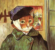 Susan Herbert, Self Portrait, Van Gogh, Antique / Vintage Art Prints, Ready to… Vincent Van Gogh, Vintage Art Prints, Arte Pop, Cat Drawing, Poster, Cat Art, Pet Portraits, Les Oeuvres, Fine Art