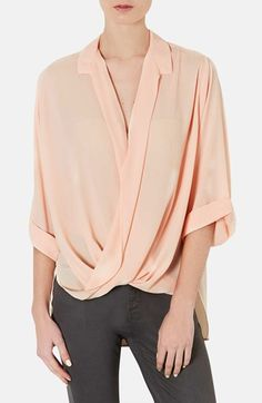Topshop Drape Front Chiffon Blouse available at #Nordstrom (in duck egg blue)