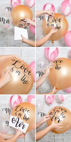 HAVE To Make These Giant Balloon Stickers! Learn how to make your own custom wedding balloon signs!Learn how to make your own custom wedding balloon signs! Wedding Balloon Decorations, Wedding Balloons, Bridal Shower Decorations, Diy Party Decorations, Bridal Shower Ballons, Diy Party Signs, Baby Shower Balloon Ideas, Bridal Shower Crafts, Bridal Shower Favours