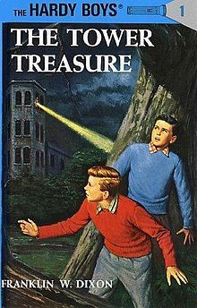 The Tower Treasure     This book is about 2 boys who have a dad that is a police officer, and when the dad comes home and tells them about his cases, the boys are intrigued and want to solve them. I recommend this book to everyone. It is a very good series.
