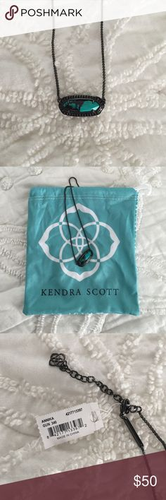 """Kendra Scott Annika Necklace Turquoise Kendra Scott crafts a polished Mother-of-Pearl pendant necklace, embellished with sparkling pavé. 16""""L with 2"""" extension. 0.4""""L pendant. Gunmetal-tone plated brass/glass/Mother of Pearl. Never worn. New with tags. Brand new! Price is negotiable, but keep in mind this has never been used. Make me an offer! Kendra Scott Jewelry Necklaces"""