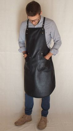 Handcrafted leather apron in classic Black by StudioBT on Etsy