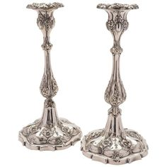 Pair of 19th Century Victorian Silver Plated Candlesticks, circa 1880 | From a unique collection of antique and modern candle holders at https://www.1stdibs.com/furniture/decorative-objects/candle-holders/