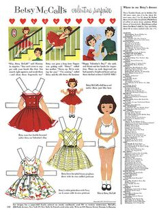 Betsy McCall's Valentine surprise - February 1955 - (with her doll) Doll Clothes Patterns, Doll Patterns, Valentines Surprise, Paper Art, Paper Crafts, Paper Dolls Printable, American Girl Clothes, Vintage Paper Dolls, Vintage Valentines