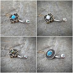 Tribal Glitter Opal Bronze Belly Button Navel Ring Body Jewelry Fits in Navel 14ga Cute Belly Ring Surgical Steel