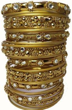 Crystal Embellished Gold Tone Bangle Bracelet Set 36 Thirty Six