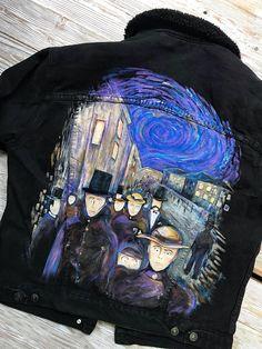 Painted denim jacket Edvard Munch Evening on Karl Johan Street