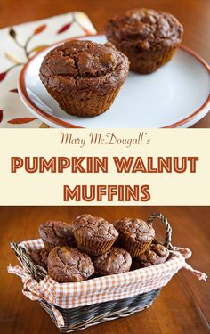 The only fat in these delectable pumpkin muffins comes from the walnuts. They're sweet and spicy and surprisingly rich. Pumpkin Recipes, Fall Recipes, Whole Food Recipes, Vegan Pumpkin, Vegan Sweets, Vegan Desserts, Mcdougall Recipes, Fat Free Vegan, Food Cakes