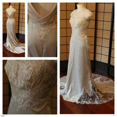Champagne vintage style gown with lace | Trade Me