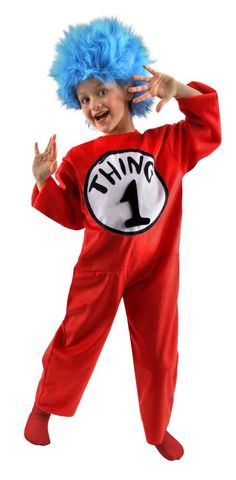 Nothing is more fun, than being Thing Two or Thing One. The screen printed velour jumpsuit comes with the signature faux fur wig and velcro numbers so you have a choice to be Things 1, 2, 3 or 4. Officially licensed by Dr. Seuss Enterprises. Dr. Seuss Thing one or two Children's costume is perfect for boy or girl and is available in Child size Small and Child size medium.