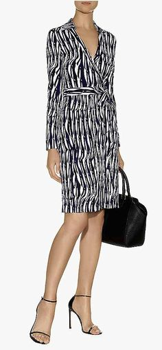 Diane Von Furstenberg - Jeanne Two Wrap Dress, long sleeves, collar, above-the-knee in silk jersey print material...