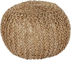 Hand knitted of jute, this rustic and lightweight pouf in an earthy, natural hue will add a sense of rough-hewn style within any room. (BRPF-001)