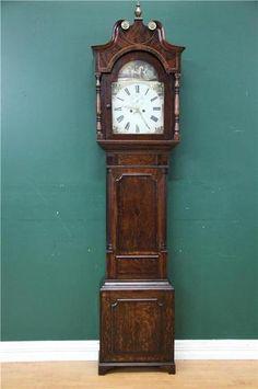 Antique George III English Mahogany OAK Inlaid Longcase Grandfather Clock   eBay