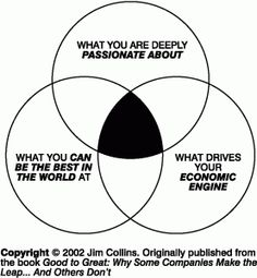 Jim Collins' Hedgehog Principle: You should focus on an activity that a) you are passionate about; b) you can be the best in the world at; c) drives your economic engine. As a side note, I saw Jim speak today (ASTD 2012) and he was brilliant. See him if you get a chance.