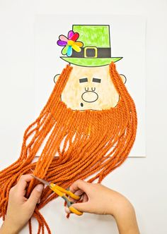 Trim the Leprechaun Beard Craft. Get the printable template to make this cute St. Patrick's Day craft and practice fine motor scissor cutting skills! Easy Crafts For Kids, Projects For Kids, Gifts For Kids, Fun Crafts, Art For Kids, March Crafts, Paper Crafts, Spring Crafts, Sewing Projects