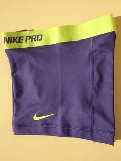 New Blue Volt L Nike® Pro Combat Women's Dri Fit Compression Shorts Large | eBay