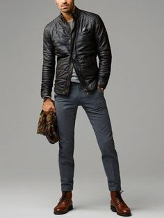 Men's Black Quilted Leather Bomber Jacket, Grey Crew-neck Sweater, Charcoal Wool Dress Pants, Dark Brown Leather Dress Boots