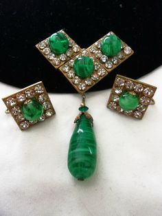 Miriam Haskell Vintage Green Glass Bead Geometric Brooch Rhinestone Drop Pin Earrings Set by AnnesGlitterBug on Etsy