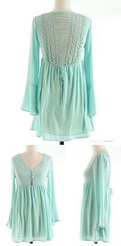 Adorable back detailing on this minty dress.   I'd rather wear it as a tunic. Kinda short for my liking for a dress.