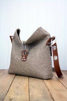 Feltro borsa con piega sopra la parte superiore borsa di Rambag
