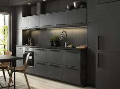 44 Magnificient Ikea Kitchen Design Ideas For Home To Try. Most Ikea customers are already familiar with the planner tools that Ikea provides. Ikea planner tools gives you a chance to become an Interi. Black Ikea Kitchen, Ikea Kitchen Design, Black Kitchen Cabinets, Custom Kitchen Cabinets, Black Kitchens, Modern Kitchen Design, Kitchen Furniture, Home Kitchens, Kitchen Decor