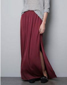 Zara burgundy maxi skirt with slit - $50