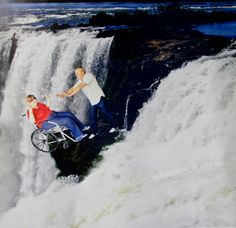 """""""Went on a trip to the Foz de Iguacu, which is Brazil's version of Niagara Falls. There, as with most touristy places, you can take a photo in front of a green screen on which you are later super-imposed against the falls. This photo left by previous visitors caught my eye because it's so incredibly [...]"""