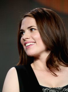 Hayley Atwell Photos Photos - Actress Hayley Atwell speaks onstage during the 'Marvel's Agent Carter' panel at the Disney/ABC Television Group portion of the 2015 Winter Television Critics Association press tour at the Langham Hotel on January 14, 2015 in Pasadena, California. - Winter TCA Tour: Day 8