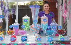 hawaiian sweet 16 party candy buffet ( candy bar). All our buffets are flanked by rock candy trees and a centerpiece of branded giant sticks.