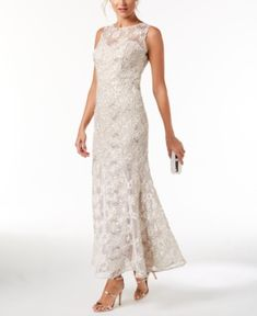 Sl Fashions Soutache Sequined Gown - Ivory/Cream 14