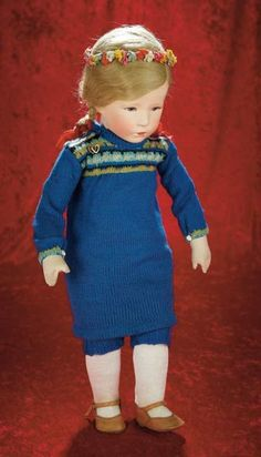 Many Wonderful Things : 144 German Character Girl by Kathe Kruse in Blue Knit Costume