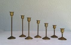 s/7 Vintage BRASS Candle Holders Set of 7 by RetroStampedRare