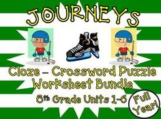 Cloze Worksheets and Crosswords Full Year Bundle for Journeys 5th Grade 2011