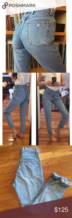"""🍍Vintage Guess Jeans 24 Light Wash🍍 Amazing and GORGEOUS vintage Guess Jeans! 24"""" waist, 10.5"""" rise, 30"""" inseam! Great quality denim and these actually hug your butt! Upon purchase, I can cut off and fray the hem to any measurement if you'd like. Seriously BEAUTIFUL jeans! Not Ref. Always cheaper on ♏️! Reformation Jeans"""