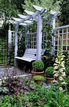 Pergola, bench, and plants