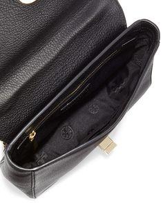Mercer Pebbled Leather Shoulder Bag, Black