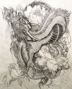 """""""My sketch for tattoo , A dragon design with peony flower and fire background Dragon Tattoo Art, Dragon Artwork, Dragon Tattoo Designs, Tattoo Dragon And Phoenix, Japanese Tattoo Art, Japanese Tattoo Designs, Tattoo Drawings, Body Art Tattoos, Asian Tattoos"""