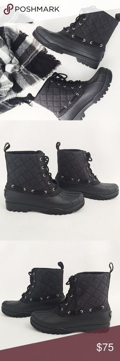 Sperry Gosling Quilted Duck Boots Sperry Gosling Quilted Duck Boots in black featuring durable, waterproof outer and fleece-lined interior.  Non-slip sole, perfect for cold weather.  NWOT, never worn!  Original box not included.   •  BUNDLE with scarf to SAVE and GET THE LOOK!  • Sperry Top-Sider Shoes Winter & Rain Boots