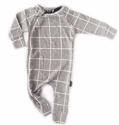 Grey & White Grid Zip Romper