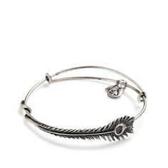 Alex and Ani Peacock Feather Wrap Russian-Silver Expandable Bangle Bar Bracelet