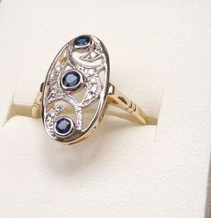 Sapphire AND Diamond Ring TWO Toned 9ct Gold Filigree ART Deco Style Setting | eBay