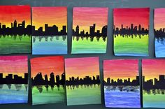 Silhouettes on color gradient. Good introductory wet-on-wet blending lesson.