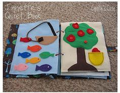 Quiet book - Oooh got to make one of these.  Thinking it's perfect for in the crib morning play toys before mommy and daddy are up.