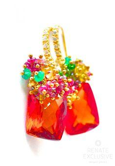 """Orange Sapphire Earrings """"Fall In Love"""""""