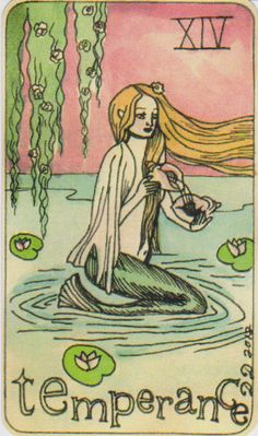 Dame Darcy Mermaid Tarot - Temperance. Major Arcana. tarot cards. divination. fortune telling. oracle. Get her beautiful deck at her DameDarcy shop on Etsy!