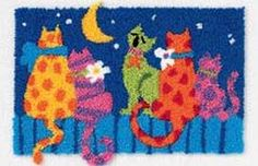 MIDNIGHT CATS PUNCH NEEDLE Punch Needle Kits, Punch Needle Patterns, Locker Hooking, Rug Hooking, Latch Hook Rugs, Penny Rugs, Embroidery Kits, Punch Art, Scrapbook Supplies